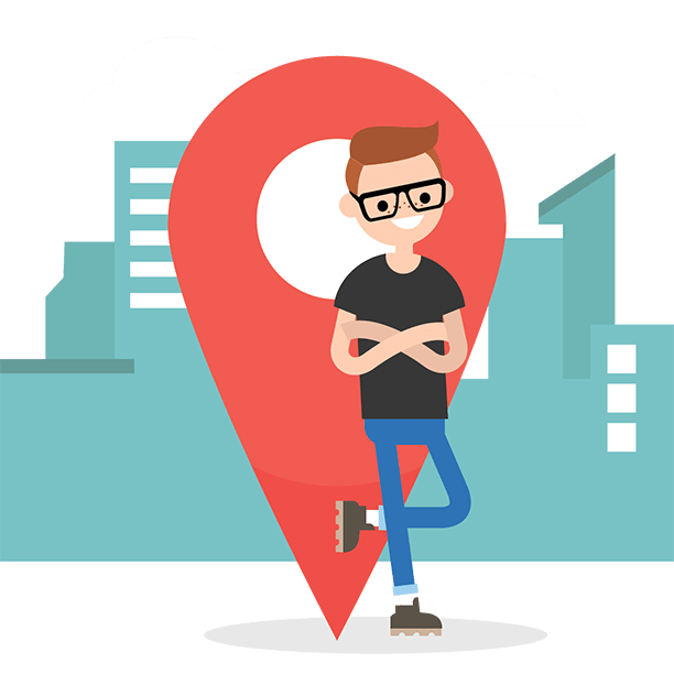 nerdy guy standing with arms crossed leaning up against a map icon